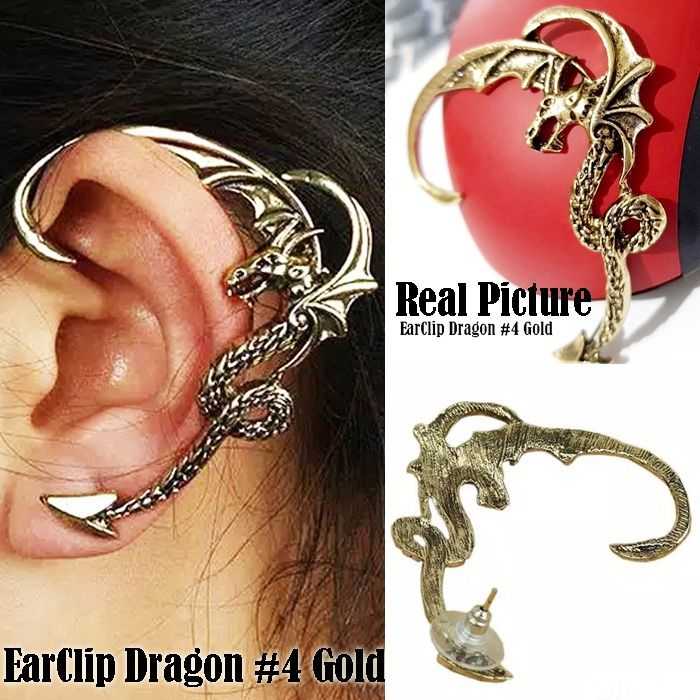 ANTING EARCLIP DRAGON 4 GOLD ( 1 buah )